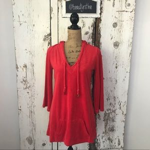 Juicy couture red terry cloth tunic coverup